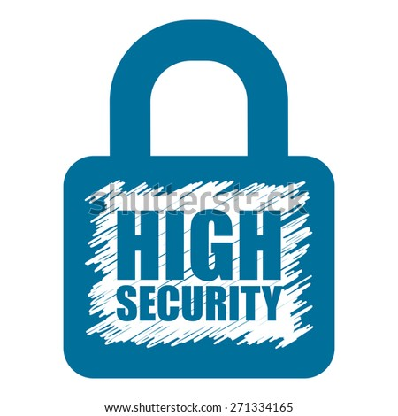 Blue High Security Lock Banner, Sign, Label or Icon Isolated on White Background - stock photo