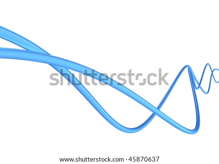 blue high tech cables isolated on white background - stock photo