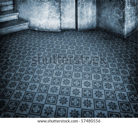 Blue historic interior with empty tile floor and marble wall - stock photo