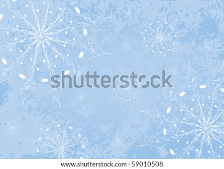 Blue holiday background with snowflakes.