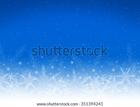 Blue holiday christmas background with white snowflakes - stock photo