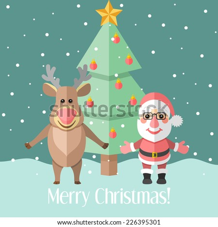 Blue holiday Christmas card with fir tree and Santa Claus and reindeer - stock photo
