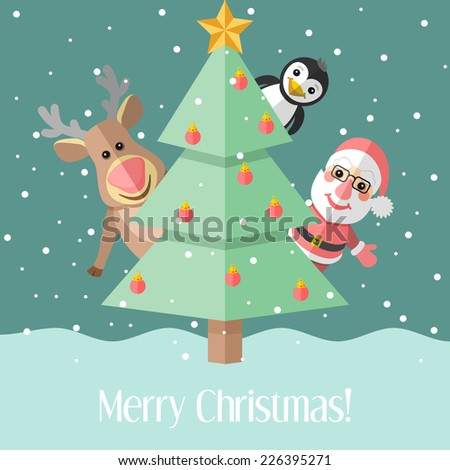 Blue holiday Christmas card with fir tree and Santa Claus and reindeer and penguin - stock photo