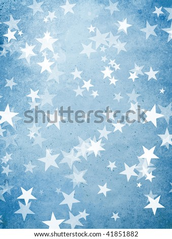 blue holiday cover with many starts and dots - stock photo