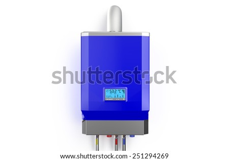 Blue home gas-fired boiler,  water heater isolated on white background - stock photo