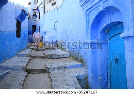 blue home in Morocco/Housewife - stock photo