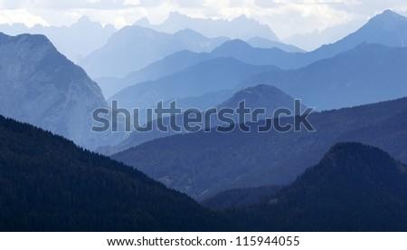 blue horizons - Dolomiti Italy - stock photo