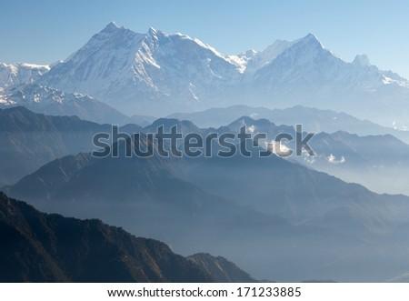 Blue horizons - view of Annapurna Himal from Jaljala pass - Nepal - Asia - stock photo