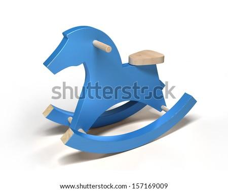 Blue horse/3d - stock photo