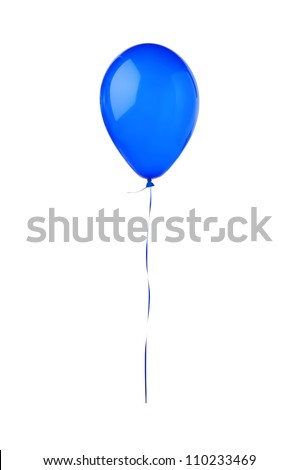 Blue hot air flying balloon isolated on white background - stock photo