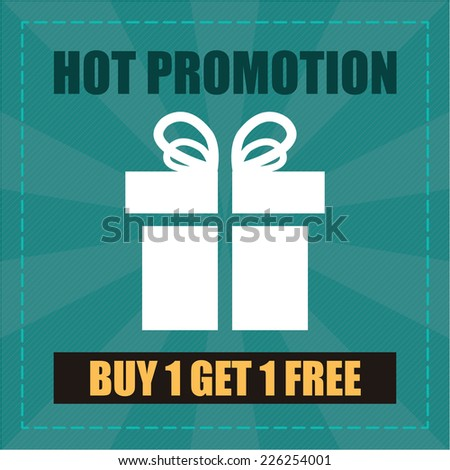 Blue Hot Promotion Buy 1 Get 1 Free Label, Icon, Sticker, Brochure, Leaflet or Poster Isolated on White Background  - stock photo