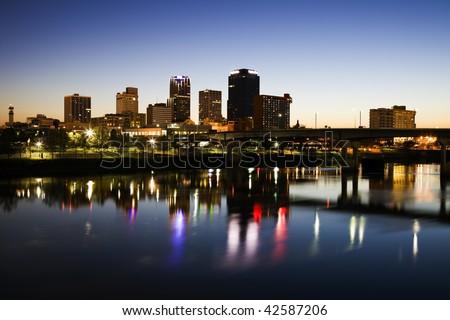 Blue hour in Little Rock, Arkansas. - stock photo