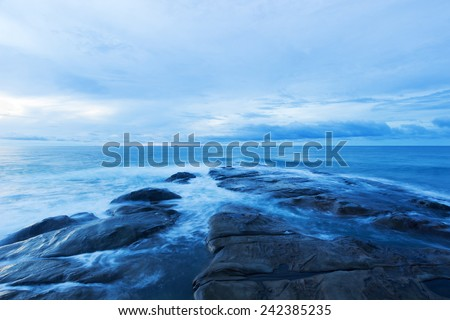 Blue hour scene at tips of Borneo,Sabah - stock photo