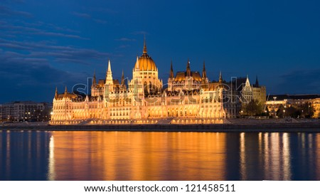 Blue hour shot of the beautiful Hungarian parliament building.