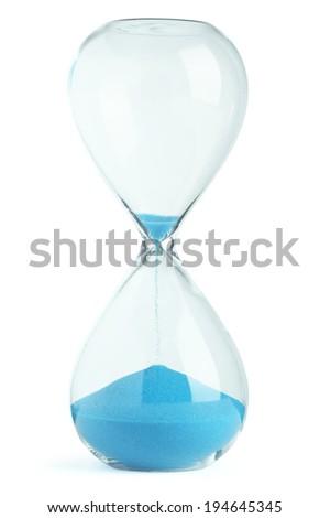 Blue hourglass - stock photo