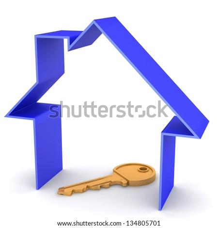 blue house and key, on a white background, 3d render