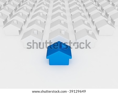 blue house different from the others - stock photo
