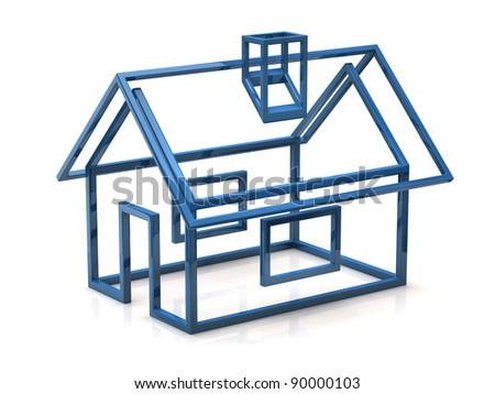 Blue house icon - stock photo