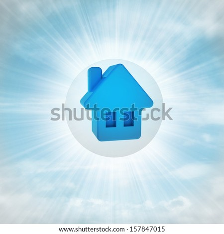 blue house icon in glossy bubble in the air with flare illustration - stock photo