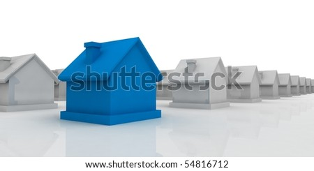 Blue house in the foreground - stock photo