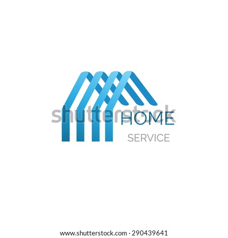 Blue house logo for your company. Good for home service, cleaning, inshurance and other buisiness  - stock photo