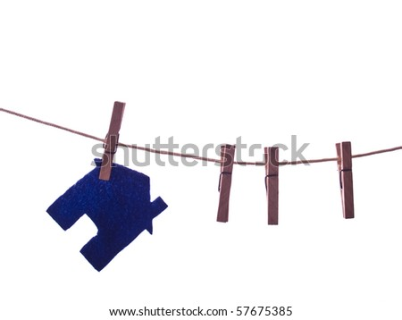 Blue House on the rope isolated white