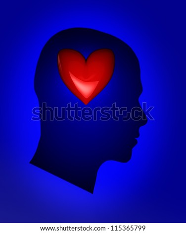 Blue human head with red heart - stock photo