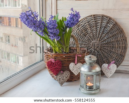 Blue hyacinths in rural wicker basket with hearts and a lantern in the window