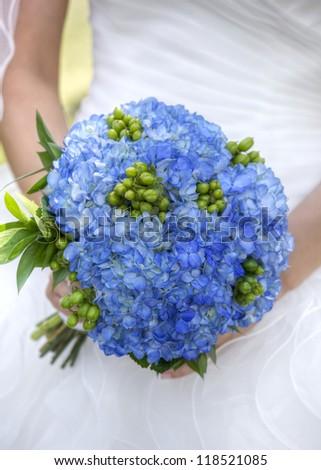 Blue Hydrangea Bridal Bouquet - stock photo