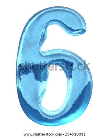 Blue ice alphabet and  set of numbers. Digit 6, six - stock photo