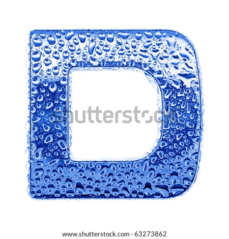 Blue ice alphabet symbol - letter D. Water splashes and drops on glossy metal. Isolated on white - stock photo