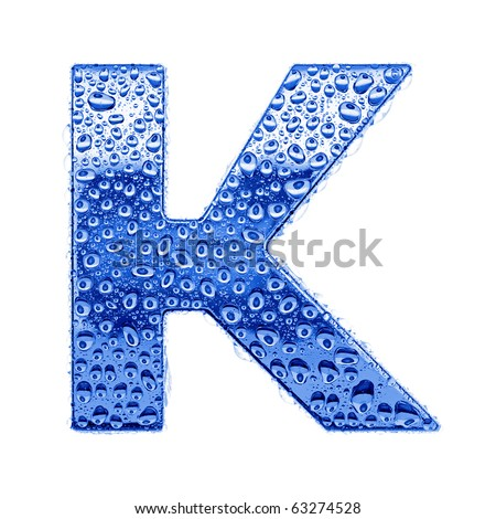 Blue ice alphabet symbol - letter K. Water splashes and drops on glossy metal. Isolated on white - stock photo