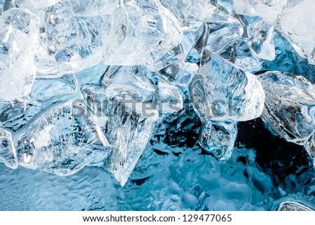 Blue ice background - stock photo