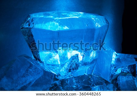 Blue ice crystal. Abstract texture for winter background