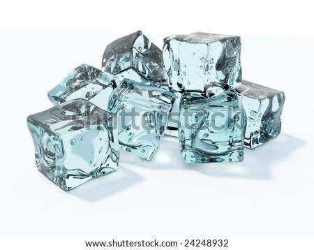 Blue ice cubes isolated on white - stock photo