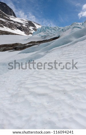 Blue ice of the Bodalsglacier (Jostedalsbreen national park)