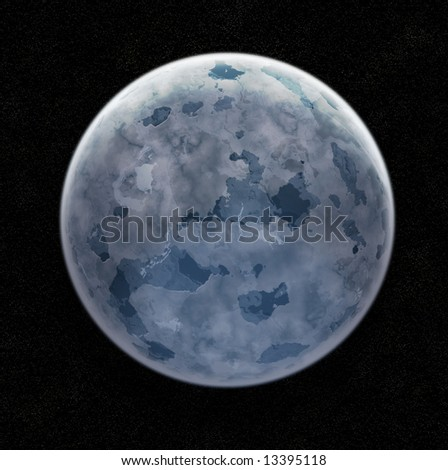 Blue Ice Planet In Space With Stars - Illustration - stock photo