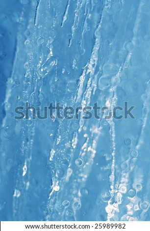 Blue ice texture. Winter background - stock photo