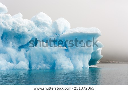 Blue ices of Greenland. Phenomenon of global warming. Catastrophic thawing of ices. - stock photo