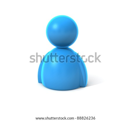 blue icon person - stock photo