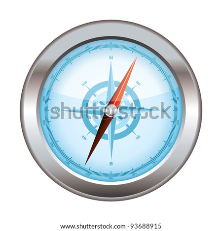 Blue icon symbol for a compass with silver dial