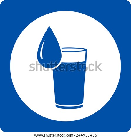 blue icon with falling water drop silhouette and glass - stock photo