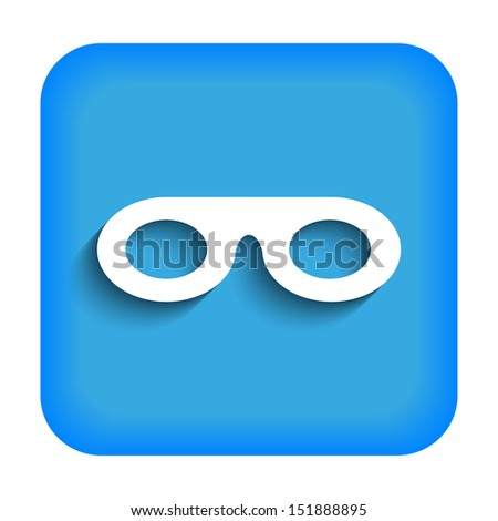 Blue icon with the image of mask - stock photo