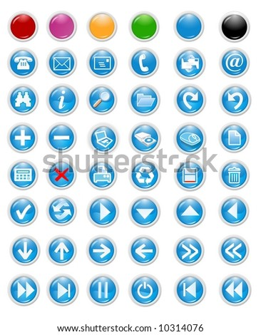 blue icons set and buttons - web page design elements - stock photo