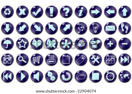 Blue icons set with metal border over white background - stock photo