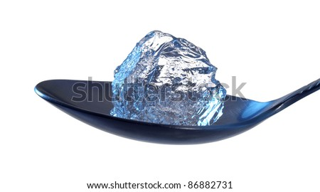 blue illuminated studio photography of a piece of ice located on  a spoon in white back - stock photo