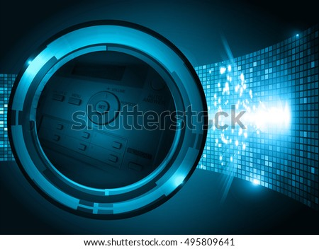 blue illustration of technology internet network computer background with binary number, style. infographics. Information. motion blur. pixel. Binary digit. number. Odometer,clock, watch