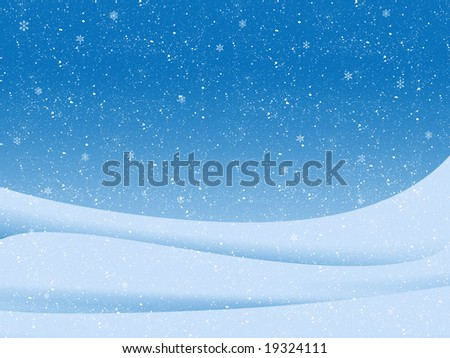 blue illustration of winter landscape with snow-flakes
