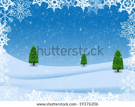 blue illustration of winter landscape with trees and snow-flakes