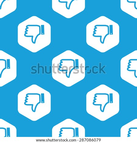 Blue image of dislike symbol in white hexagon, repeated on blue - stock photo